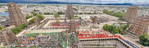 Top view of the Meenakshi temple