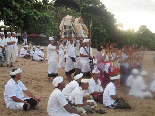 Purification ceremony on the beach