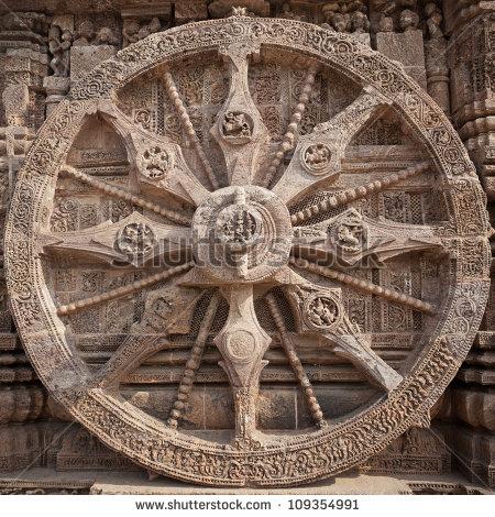 Wheel at the konark similar to sundial.