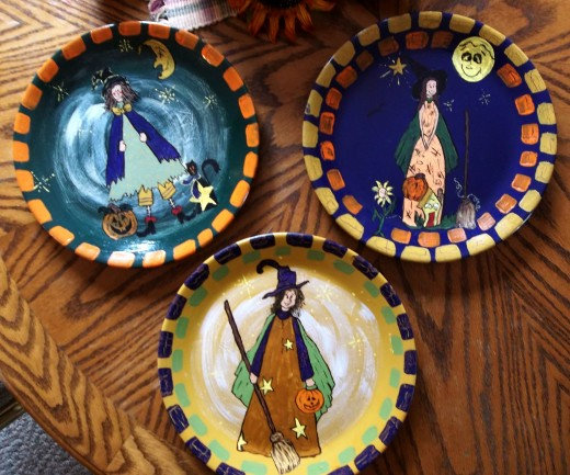 painting halloween plates craft