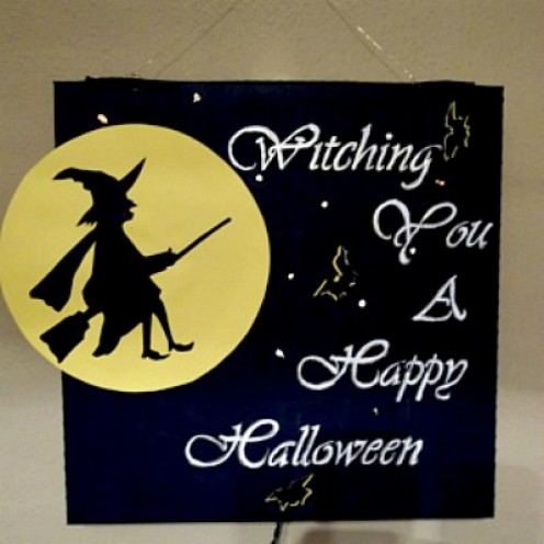 halloween witch greeting, lighted witch greeting craft