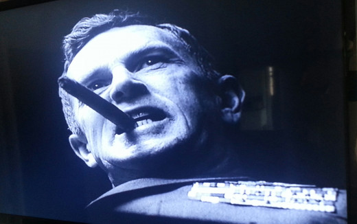 Sterling Hayden as demented General Jack D. Ripper, in one of Kubrick's many uses of phallic symbolism.