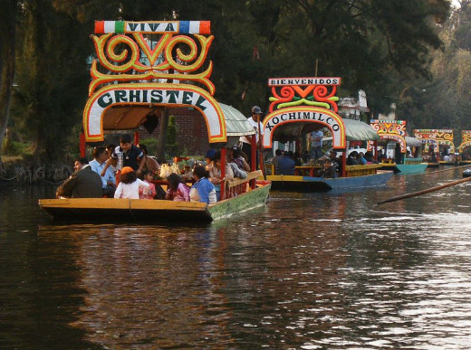 Colourful trajineras (rafts) on Lake Xochimilco