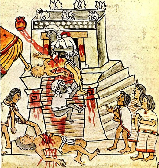 Human sacrifice as shown in the Codex Magliabechiano
