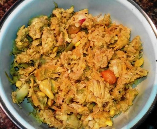 Tender Jackfruit thoran as side dish with rice
