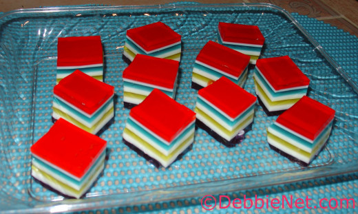 Fun Layered Jello Cubes