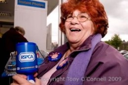 Jackie regularly collects for the RSPCS at shopping centres and clubs