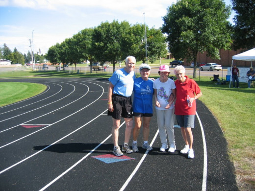 At state Senior Games Watertown, SD with former governor Frank Farrar, Wife Pat and Mary Kay