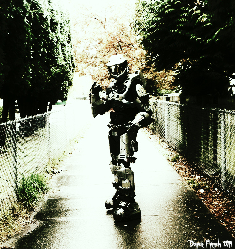 This picture was taken on the walk home after attending our daughter's Halloween dance at her school. The kids love it when the Master Chief shows up!
