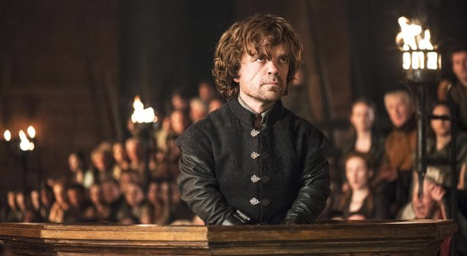 Tyrion Lannister (Peter Dinklage) at his trial.