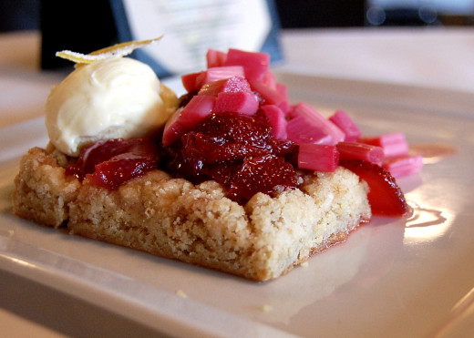 Blondie slices make lovely bases for delicious desserts. Berries, rhubarb and fresh fruit pair well with blondies. See more recipes here.