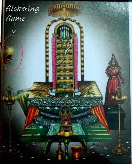 Shrikalahastiswar Shiva Lingam; there is a lamp near it the flame of which always flickers as if blown by wind.
