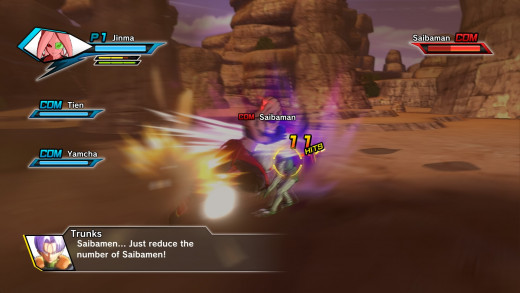 Attacking usually involves mashing the square button several times before finishing up with a triangle attack...