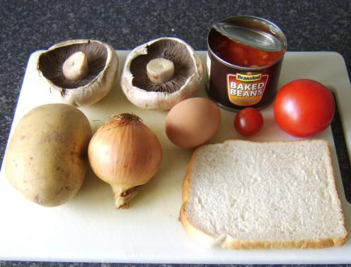 The principal ingredients of this full vegetarian fried breakfast