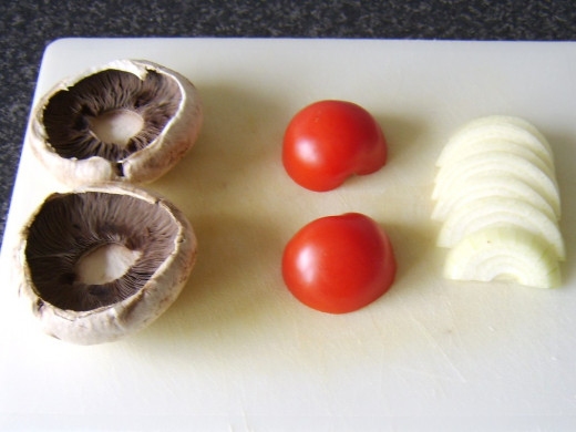 Prepared mushrooms, tomato and onion