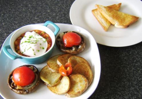 Full vegetarian fried breakfast is ready to serve