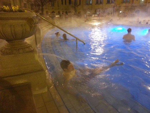 The three outdoor pools at the Széchenyi baths are kept at temperatures of from 82 to 98 degrees Fahrenheit during winter.