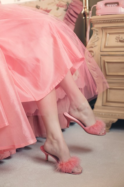 pink elegant vintage slippers with a matching flowing pink dress