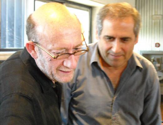 Composer Oscar Edelstein with assistant concert-master, Norberto García of the Orquesta Sinfónica Nacional, Argentina