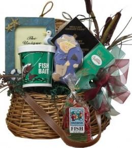 Art of Appreciation Gift Baskets Let's Go Fishing Creel Basket
