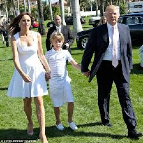 Wife, Melanie, son, Barron and Trump.