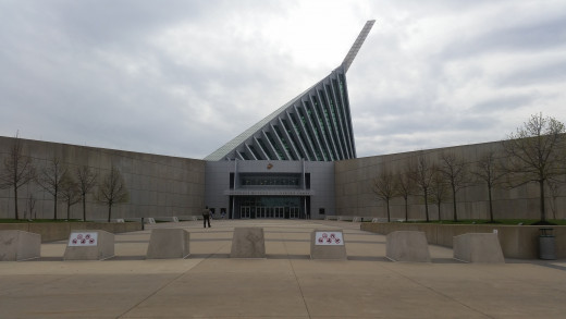 This museum is pretty new, and you can see the pointy part in the sky right from the highway! It's meant to symbolize the sword that some Marine's carry as part of their uniform.