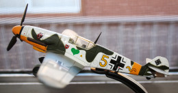 A photo of a model of a German ME109 fighter plane. ME109s were in the Battle of Britain.