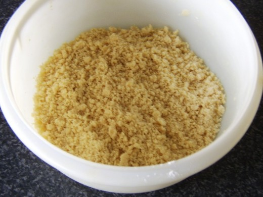 Butter and flour are rubbed to breadcrumbs consistency