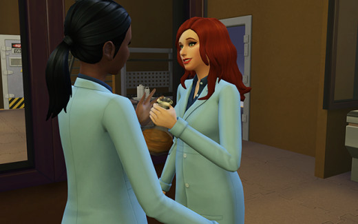 Delia asks Holly to test out her Synthetic Food Syrum.