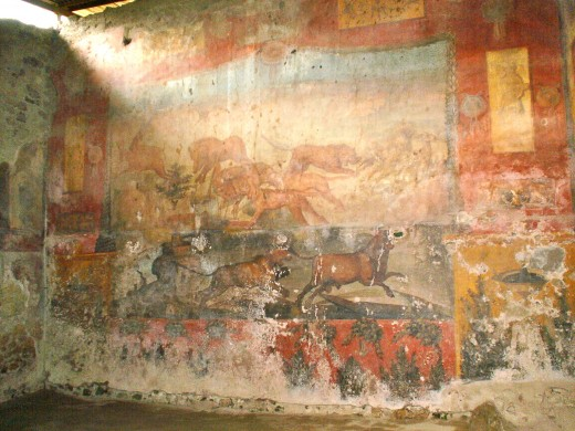 Fresco on the wall in Pompeii, Italy