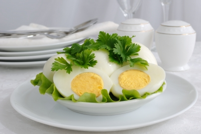 Boiled Eggs With Herbs Stock Photo
