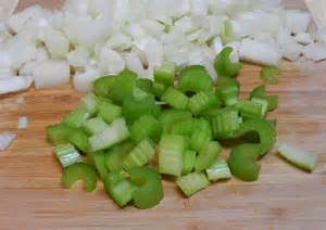 Chopped celery and onions