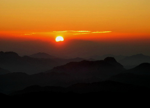 Sun rising above the mountains of Sinai