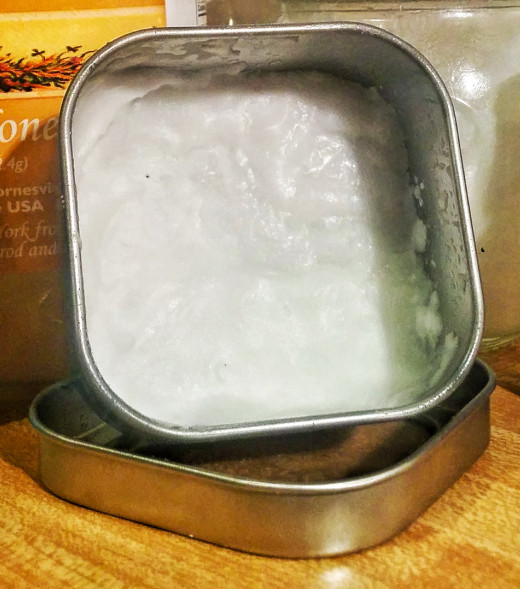 Face and Body scrub: coconut oil, baking soda, and essential oils