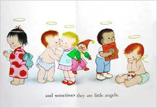 This page from the Babies board book depicts babies coexisting in a joyous heaven on earth.