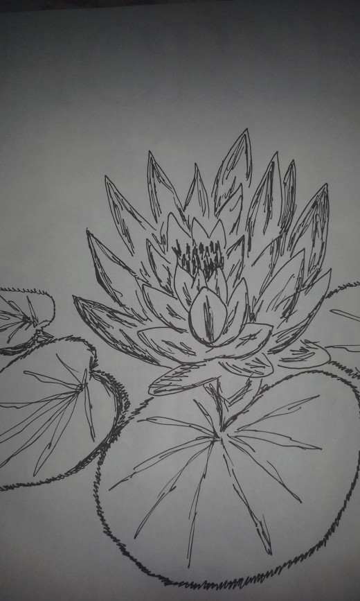 A waterlily drawn with a regular Sharpie marker.