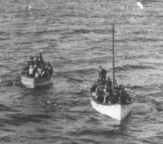 Lifeboats from the Titanic photographed by passengers on board the ship Carpathia