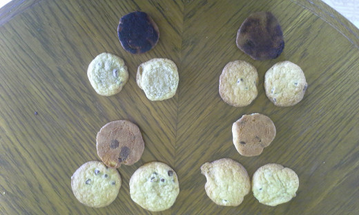 Three possible samples of cookies, exaggerated slightly. The bottom left sample would be the ideal one to take to a fair.
