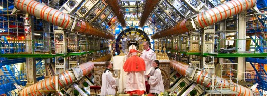 Celebrating High Mass at the Large Hadron Collider. Composite photo assembled by author