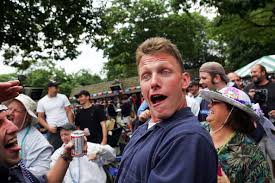 While this guy is acting (and being) a fool, someone might steal his beer.