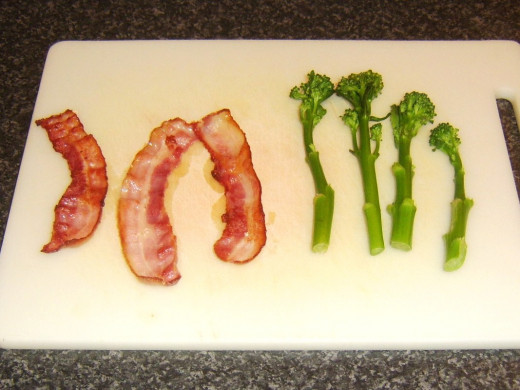 Cooked bacon and blanched tenderstem broccoli