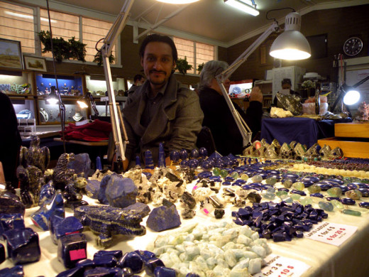 Vic with lapis and other hard-to-get-hold-of gemstones.