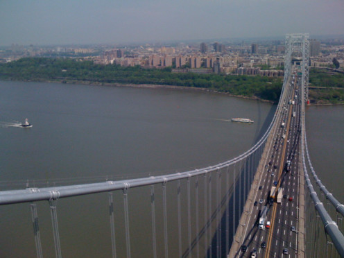 Trucks going over the George Washington Bridge, Fort Lee, NJ; photo taken by Randi Glazer