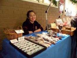Laura Scilio with bargain gemstones, suitable for kids!