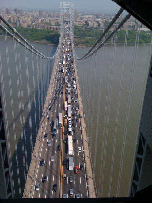 Trucks in the middle of the George Washington Bridge; photo taken by Randi Glazer