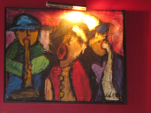 Some of the beautiful paintings within Warmdaddy's night club.