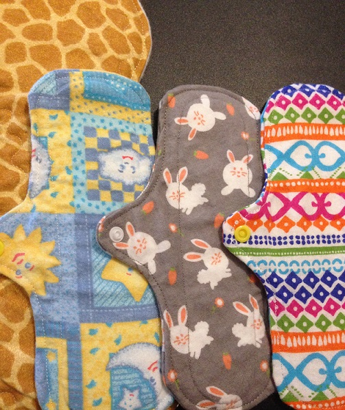 Reusable cloth pads from 'HandmadeByAlycia' on Etsy.