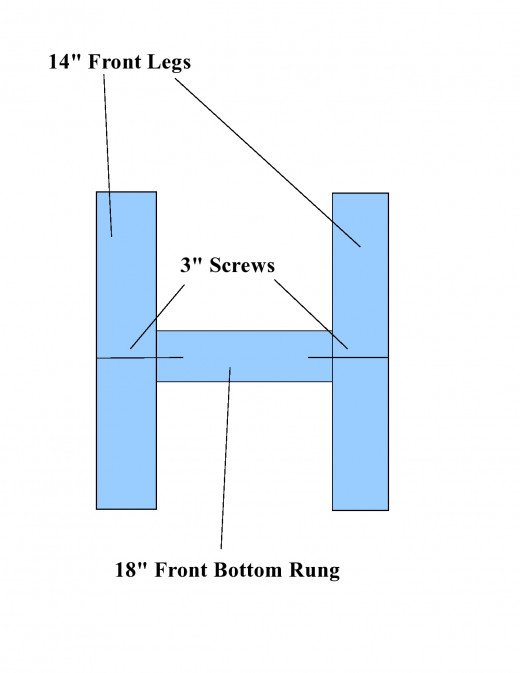 Diagram of two front legs of chair, connected with bottom rung