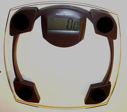 A digital bathroom body scale.