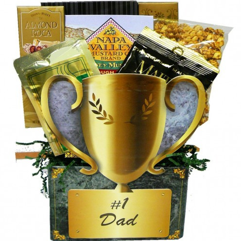 Art of Appreciation Gift Baskets No.1 Dad Trophy Gift Box - Great choice for a Father's Day present. Let your papa know that, for you, he's the no. 1 & best dad in the world